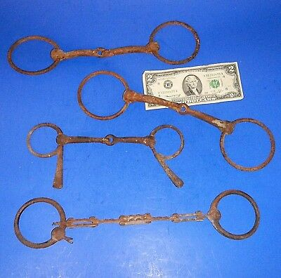 Lot of Four Antique Western Horse Bits - Wall Hangers