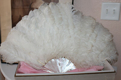 "Gorgeous Edwardian Duvelleroy Ostrich Feather fan with provenance	32"" ANTIQUE"