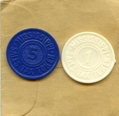 Two State of MISSISSIPPI Sales Tax Tokens ASSORTED White & Navy Blue