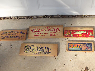 Vintage Wood Fruit Crate Ends Panels(5) w/Advertising