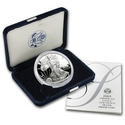 2005 – W Proof 1 oz Silver American Eagle with mint box and COA