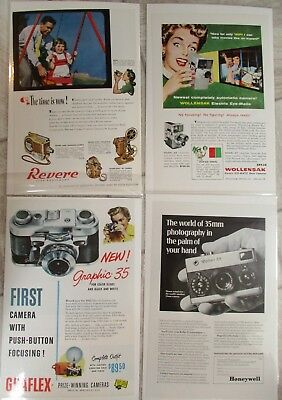 LOT OF 27 VINTAGE CAMERA ADS ADVERTISING National Gepgraphics 1950's+ ANSCO