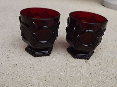 Vintage Avon Cape Cod Ruby Footed Tumblers(2)