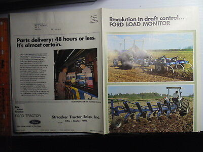 1970s Ford Load Monitor Tractor Brochure Streacker Tractor Findlay Tiffin Ohio