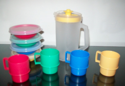 Tupperware Mini Party Set~4 Mugs, Pitcher, Bowls & Seals in Primary Colors New