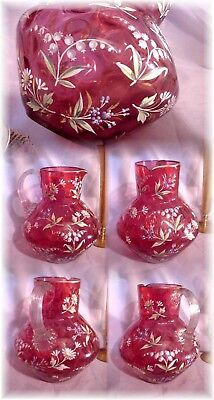 Antique Victorian Bohemian Moser Enameled Floral Cranberry Glass Water Pitcher