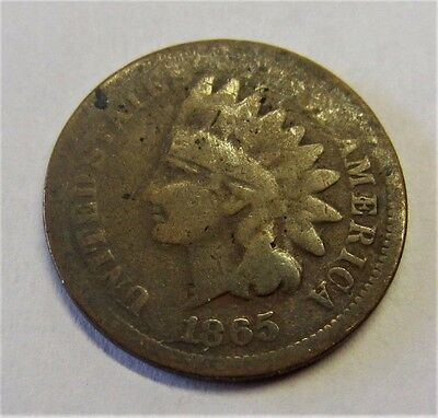 1865 Indian Head Penny Us 1C / Rare