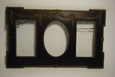 """Ant. Arts & Crafts Aesthetic Oak Triple Picture Frame W/gesso Relief 13"""" X 8"""""""