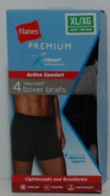 NEW Hanes Men's Pack of 4 Xtemp Tagless Boxer Briefs Black/Grey - Size: XL