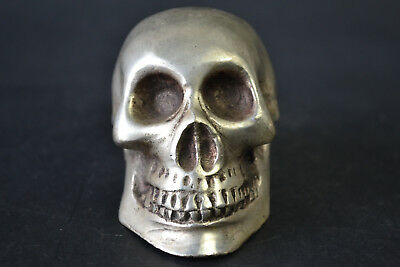 China Collectible Vintage Handwork OldTibet Silver Carve Skull Head nice Statue