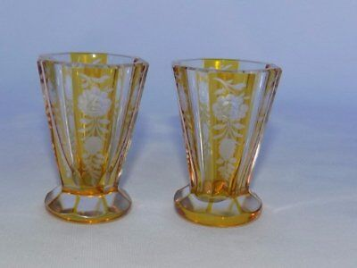 Pr Art Deco 30's Bohemian Amber Yellow Cut to Clear Crystal Cordial Shot Glasses