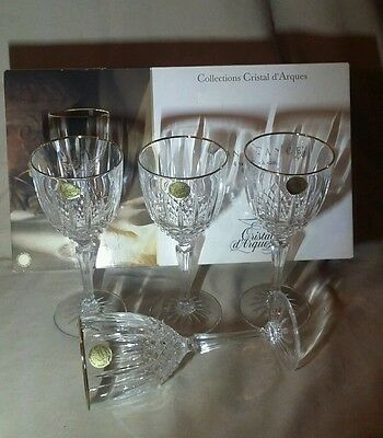 """NIB Set of 4 Cristal d Arques Constance Crystal Water/Wine Goblets Glasses7-1/2"""""""