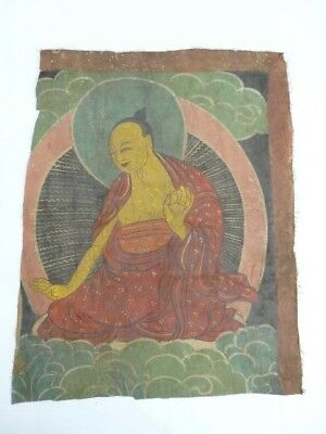 RARE Antique Tibetan Silk banner fragment Buddha on a Lotus Throne 18th - 19th C