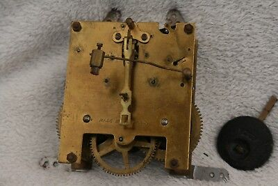 Vintage English 8 Day Striking Clock Movement, Hands, And Pendulum