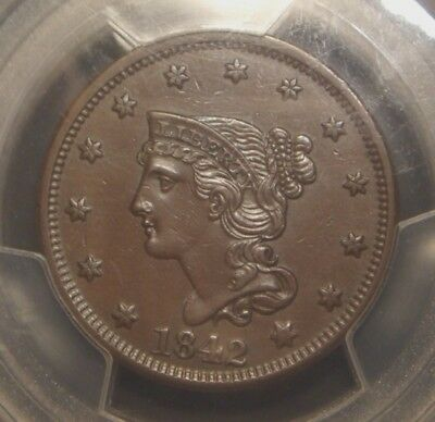 1842 Braided Hair Large Cent, Large Date Variety, Pcgs Graded Au55
