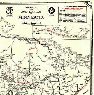 1930 Antique Minnesota State Map Auto Trails Road Map RARE Poster SIZE 4417