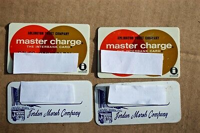 4 Vintage 1974 Credit Cards 2 Master Charge 2 Jordan Marsh Boston Malden Peabody