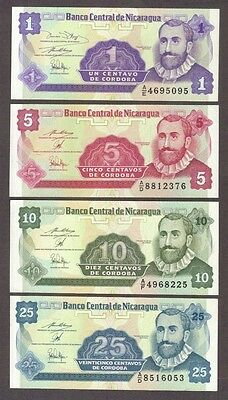 1991 1 5 10 25 Centavos Nicaragua Currency Unc Banknotes Set Notes Bills Lot Cu