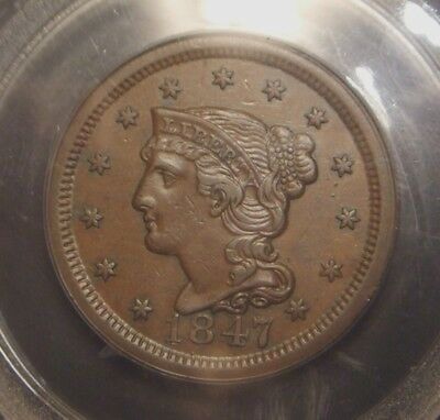 1847 Braided Hair Large Cent, From Jules Reiver Collection, Pcgs Graded Au50