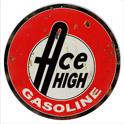 Reproduction Ace High Gasoline Motor Oil Sign 14 Round