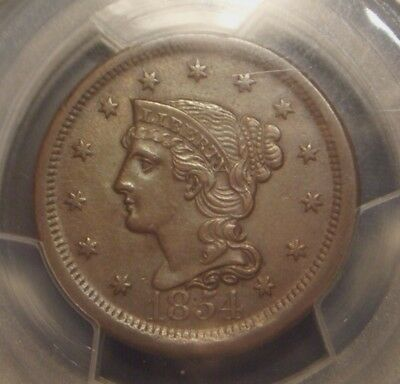 1854 Braided Hair Large Cent, Pcgs Graded Au53