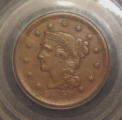 1857 Braided Hair Large Cent, Large Date Variety, Pcgs Graded Au55