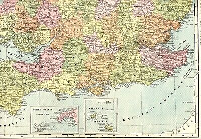 1902 Antique England Map Uncommon Rare Poster Print Size Map of England 4425