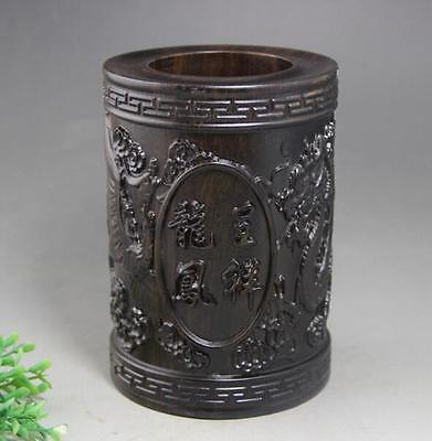 Antiques Chinese Old wood Hnad-Carved Dragon Phoenix bird Brush Pot Pencil Vase