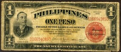 Philippines 1 Peso Series 1936   Note  !!!!!  Gvg