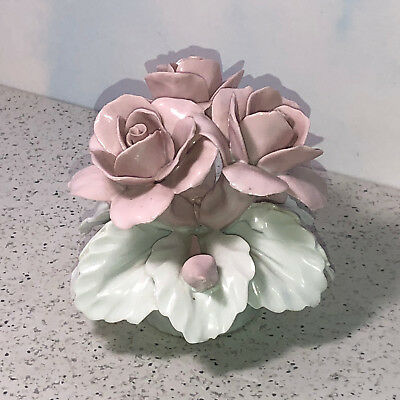 Capodimonte Flower Figurine Pink White Porcelain Italy Nuova Bouquet Rose Leaves