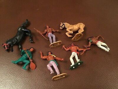 Old Vintage Timpo Toy Indians Wild West Figures Horses Old Rare Pictured