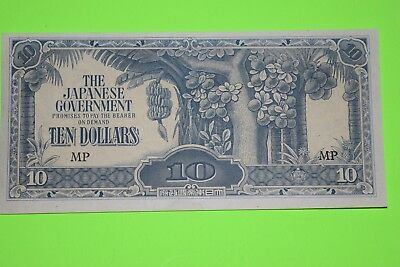 Japanese World War 2 Invasion Currency, Phillipines, 10 Dollar Note, Exc Cond.