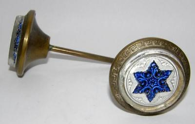 Pair Antique Victorian Curtain Tiebacks BLUE SULFIDE STAR