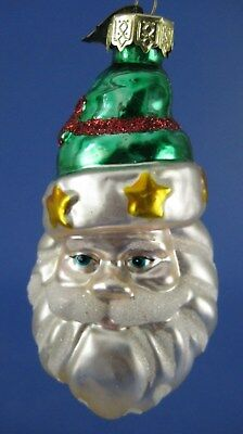 Santa Claus Face Glass Christmas Tree Ornament Thomas Pacconi Green Hat Stars