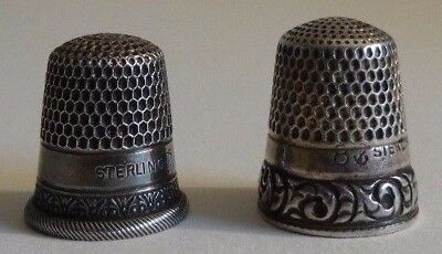2 Antique American Sterling Silver Thimbles Stern Bros. Two-band & Utilitarian