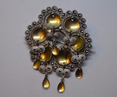 Norwegian 830 Silver Brooch Filigree Bunad Solje Beautiful! Unsigned