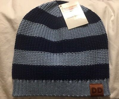 Dunkin Donuts Beanie Blue Striped New Hat
