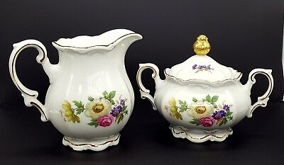 Meissen Floral by Mitterteich Germany Creamer and Sugar Bowl