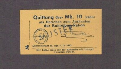 1943 Poland Litzmannstadt Lodz Ghetto Specimen Coupon For 10 Marks Of Turnips