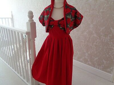 vintage style swing dress bnwot halter neck 14 matching bolero