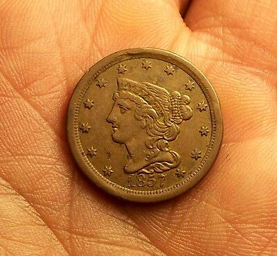 "++  ""key Date""  1857 Us Half Cent  Early Copper Type Set Coin  ++"