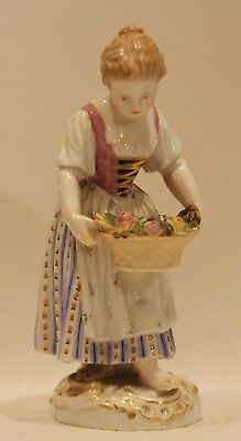 Well Executed Antique Meissen Figurine of a Flower Girl Carrier