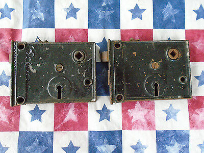 (2)Ant late 19th early 20th century cast iron mortise or surface mount door lock