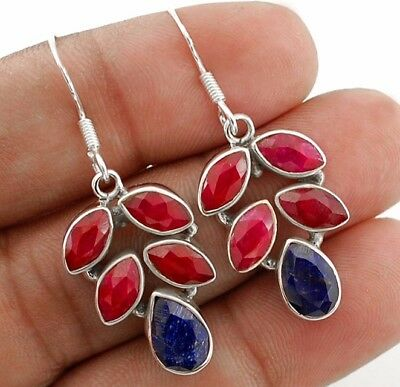 """8CT Earth Mined Ruby 925 Solid Sterling Silver Earrings Jewelry 1 1/2"""" Long"""