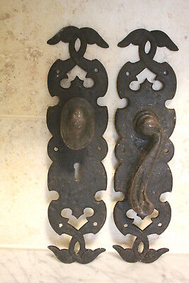 Antique Door Handles on plates. Black Cast Iron. Original Beautiful Pair of hand