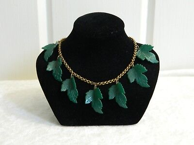 Vintage Art Deco Era Green Celluloid Leaf Dangling Leaves Brass Chain Necklace