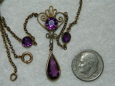 Antique Vintage Edwardian Art Deco Bezel Set Purple Glass Drop GF Necklace