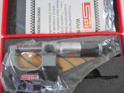 """0 to 1"""" x .0001"""" Parallax Free Outside Micrometer with Carbide Faces New"""