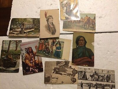 Lot of 10 Vintage Postcards of Native Indian Americans