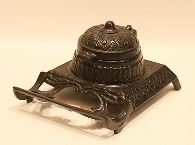 19th Century Cast Iron Ink Stand and Pen Rest in Near Mint Condition